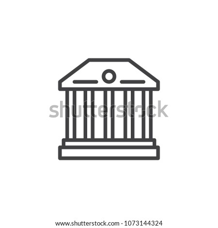 Museum building outline icon. linear style sign for mobile concept and web design. Classical Column building simple line vector icon. Symbol, logo illustration. Pixel perfect vector graphics