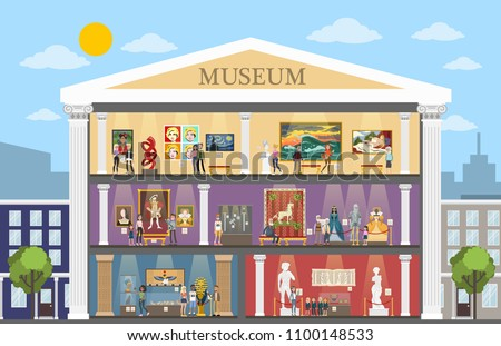 Museum city building interior with rooms and visitors.