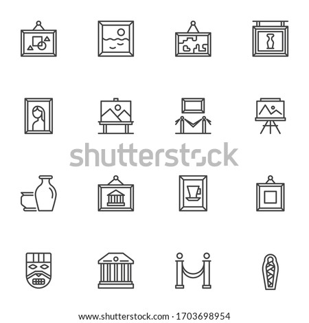 Museum exhibits line icons set. Art gallery linear style symbols collection, outline signs pack. vector graphics. Set includes icons as paintings, ancient vases, museum building, mummy, face mask