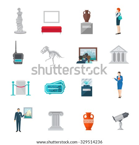 Museum icon flat set with ticket statue visitors and guides isolated vector illustration