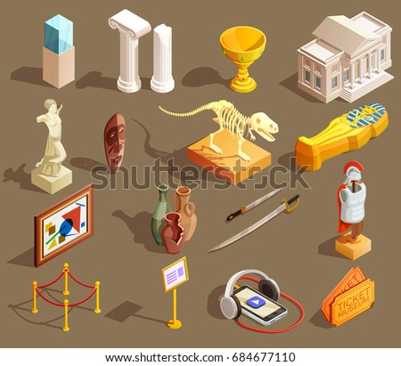 Museum icon isometric set of isolated exhibit items and essential elements for attending museum tour vector illustration