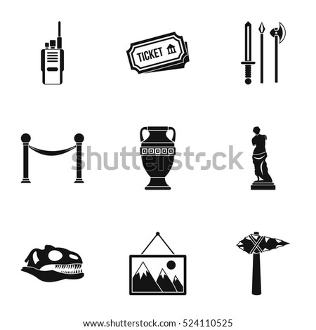 Museum icons set. Simple illustration of 9 museum vector icons for web