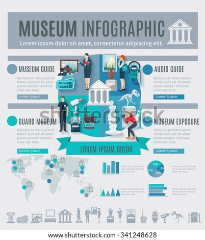 Museum infographics set with arts symbols and charts vector illustration