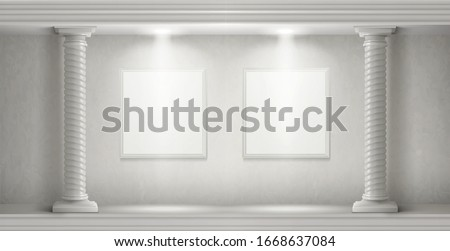 Museum interior in antique castle with blank paintings frames illuminated by spotlights. Vector realistic empty gallery room with white marble twisted columns