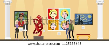 Museum interior. People looking at famous modern exhibits. Collection of sculptures and pop art paintings. Idea of history and education. Isolated vector flat illustration