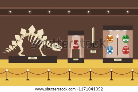 Museum interior with ancient weapons and stegosaurus skeleton, vector illustration.