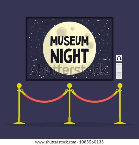 Museum night. Cultural event.  Golden stanchions.  Full moon. Flat editable vector illustration, clip art