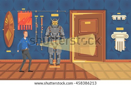 Museum security guard patrols at night. Vector illustration in a flat style.
