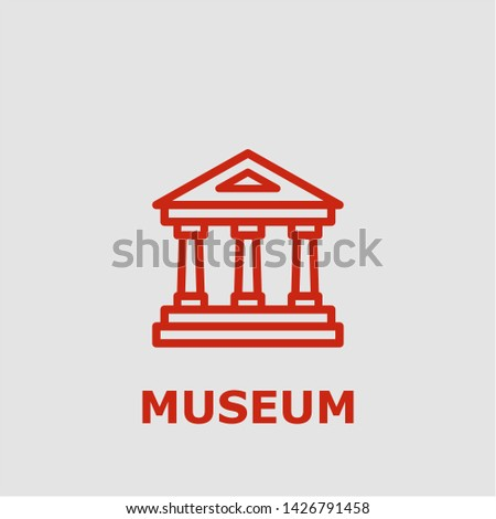 Museum symbol. Outline museum icon. Museum vector illustration for graphic art.