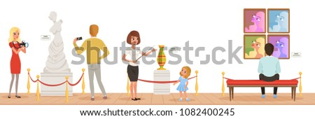 Museum visitors looking at classical work of art, museum guide telling girl about exhibits, people attending museum horizontal vector Illustration