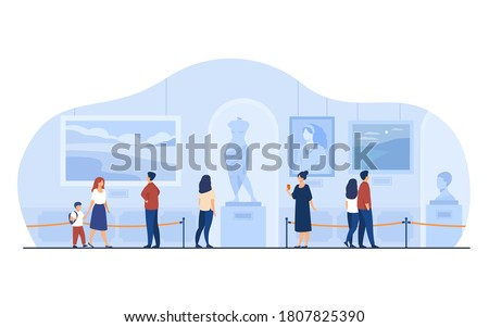Museum visitors walking in art gallery. Tourists enjoying exposition, admiring artworks at exhibition. Vector illustration for excursion, people and culture concept. Stock photo ©