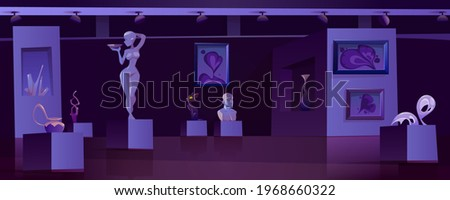 Museum with modern artworks at night. Art gallery interior with contemporary exhibition. Vector cartoon illustration of exposition with abstract paintings, sculptures, vase and statue in dark room Photo stock ©