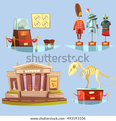 Museum with one dollar ticket today and historical exhibits on glassy floor retro cartoon 2x2 flat icons set