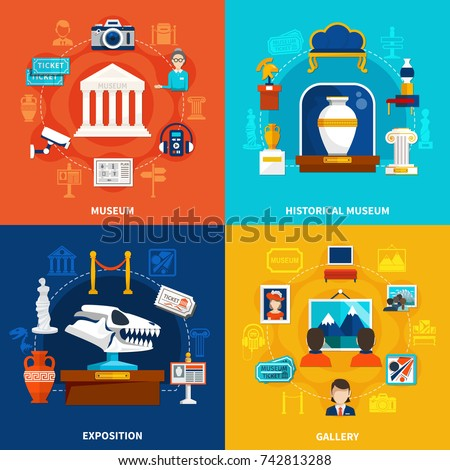 Museum 2x2 design concept set of paleontology exposition picture gallery historical museum flat square compositions vector illustration