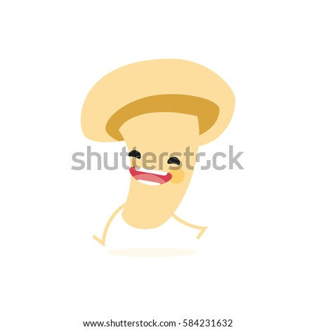 Mushroom (Agaricus bisporus) with cute face. Illustration funny and healthy food cartoon. Isolated