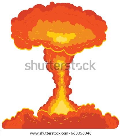 mushroom cloud bomb vector icon