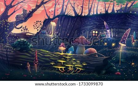 mushroom garden with wild