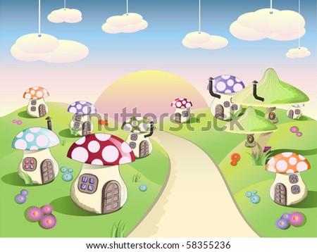 Mushroom glade - stock vector