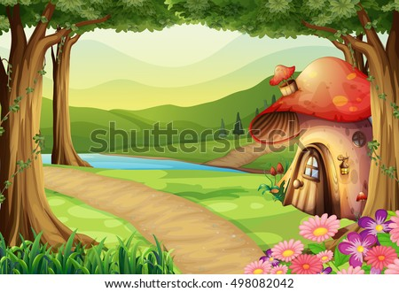 mushroom house in the woods