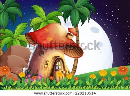 mushroom house scene at night