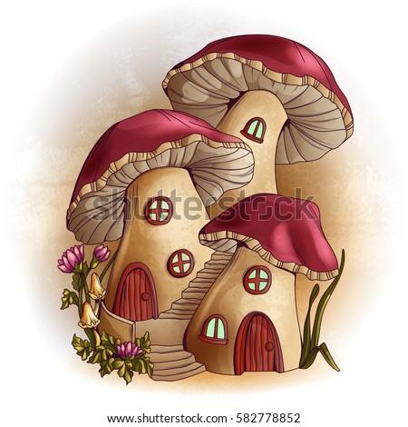 mushroom houses fairy tale