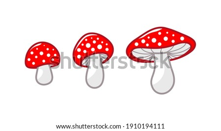 Mushroom icon set. Amanita Muscaria (fly agaric) sign collection. Magic mushroom symbol. Vector illustration isolated on white background