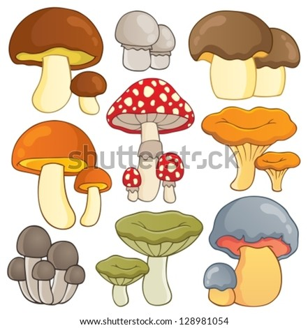 Mushroom theme collection 1 - vector illustration.
