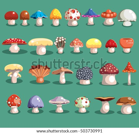 mushrooms set different