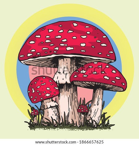MUSHROOMS VINTAGE 60s 70s SCREEN GRAPHIC HIPPIE PSYCHEDELIC OUTLINE COLORFUL AMANITA MUSCARIA FLY AGARIC MUSHROOM FUNGUS RETRO FASHION  Foto stock ©