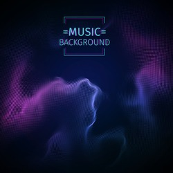 Music abstract background. Beat and sound equalizer. Audio and music waves. Vector illustration. Purple music energy. Colorful backdrop. 3D futuristic structure. Dots connection on the dark background
