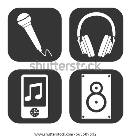 music and audio icons vector