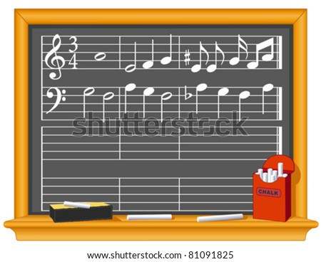 Music And Blackboard. Old fashioned classroom slate blackboard with music notes, chalk and eraser. Copy space to make your own music. EPS8 organized in groups for easy editing.