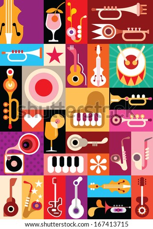 Music and Cocktail party vector illustration Patchwork seamless wallpaper