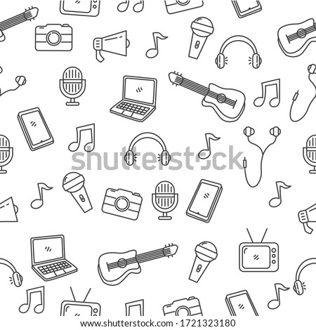 Music and media seamless pattern in black doodle style suitable for background or wallpaper