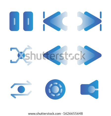 Music and multimedia icon set outline include pause,skip,ahead,skip ahead,back,skip back,shake,shuffle,reload,rewind,audio player,repeat,forward,fast,disc,plate,disk