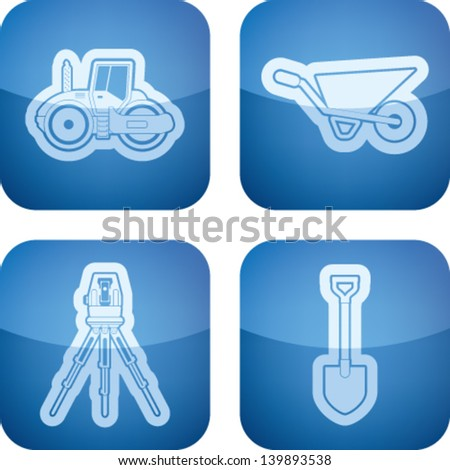 Music and music instruments theme, from left to right, top to bottom:   Road roller, Wheelbarrow, Theodolite, Shovel (Spade).