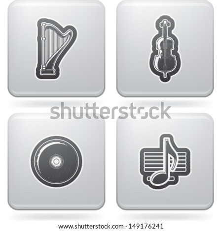 Music and music instruments theme, pictured here from left to right, top to bottom:  Harp, Cello, CD, Music note.