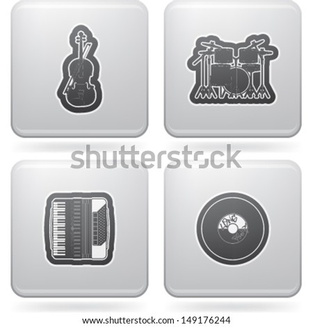 Music and music instruments theme, pictured here from left to right, top to bottom:  Violin, Drums (Percussion), Accordion, Vinyl.