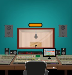 Music and Recording Industry. A window glass between Artist's Recording Booth and Engineer's Control Room with tools for capturing, mixing and mastering music. Editable Vector Illustration and jpg.