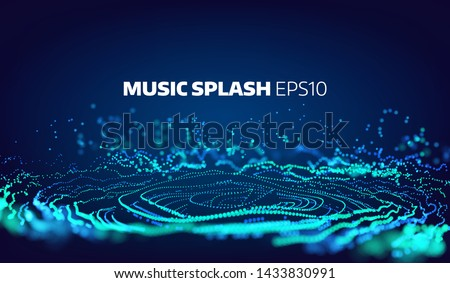 Music and sound splash with ripples. Particles glitch equalizer information