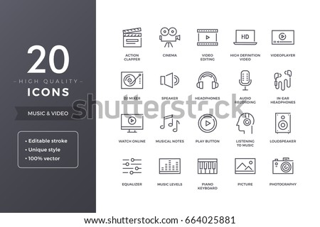 music and video icons vector