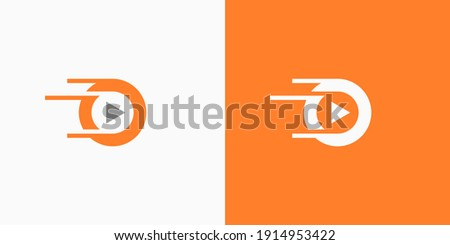 Music and Video logo template. Letter O media logo design. Abstract logo for musics, video, media, film, tv and other. Circle media player icon illustration. Modern rounded play logo with fast swoosh. Foto stock ©