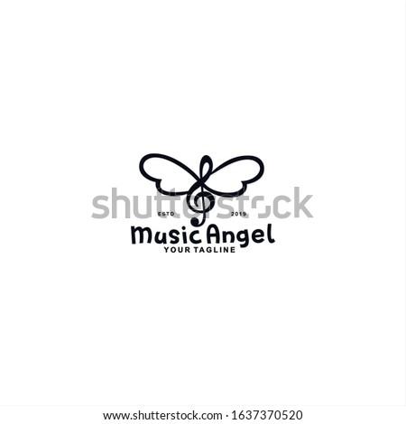 music angel logo design