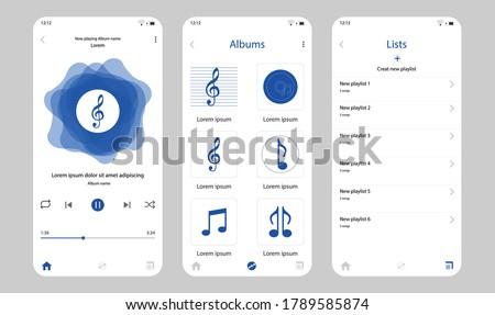 music app ui kit template for mobile application user interface design Stock photo ©