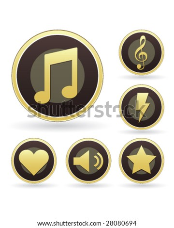 Music appreciation icons on vector button set