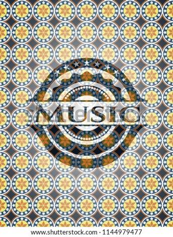 Music arabesque style emblem. arabic decoration.