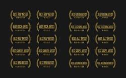 Music award best artist pop rock rap gospel country jazz winner nomination. Laurel vector logo icon set
