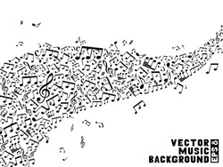 Music background. Black and white background. Set of music notes and treble clefs on white background. EPS 8.