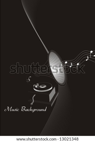 Music-background, gramophone & flying musical notes