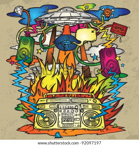 Music Background. Stylish grunge background on the music theme. The image consists of a UFO, a boom box, the flames, fire, explosion, loudspeakers.